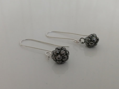 Solid blackened sterling silver blackberry earrings