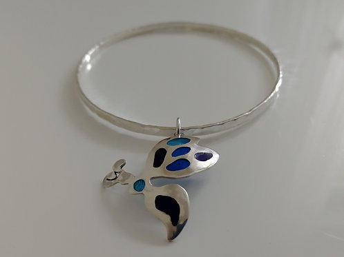Solid sterling silver bangle with an ant plique-a-joir charm