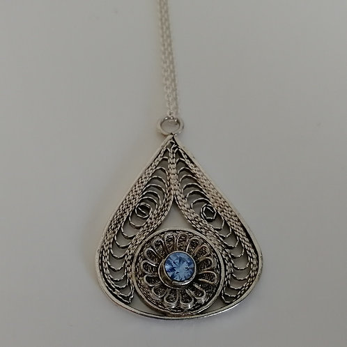 Sterling silver 925 old fashioned filigree pendant with blue CZ and a chain