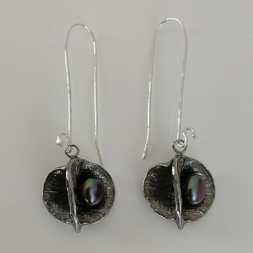 Solid sterling silver apple earrings with a pearl