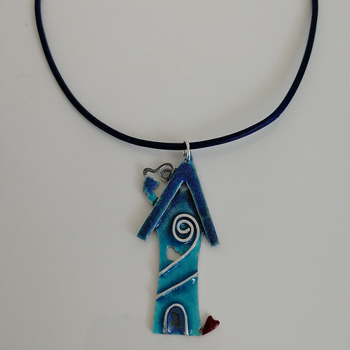 Enameled sterling silver blue house pendant with a real leather cord