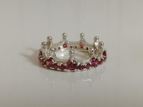 Sterling silver crown ring with dark pink Swarovski crystals
