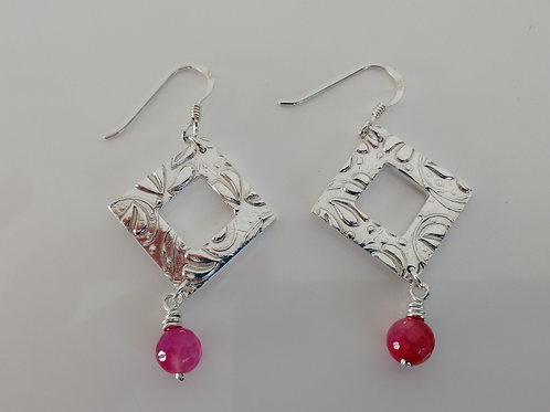 Sterling silver square earrings with a pink bead