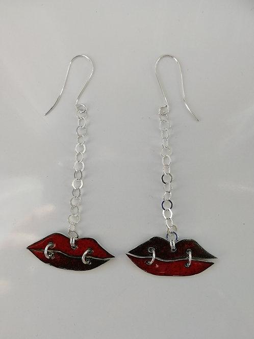 Long enamelled sterling silver red lip earrings
