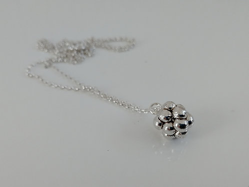 Solid sterling silver blackberry pendant with a chain