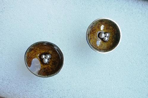 Enameled sterling silver cup stud earrings