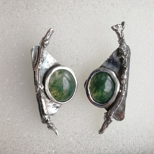 Blackened sterling silver earrings with twigs and moss agate