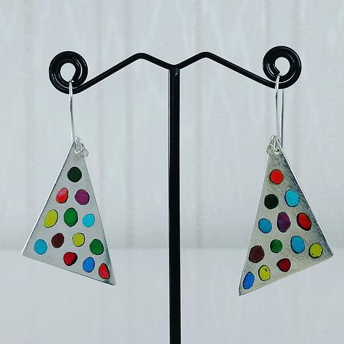 Triangular sterling silver 925 plique-a-jour earrings