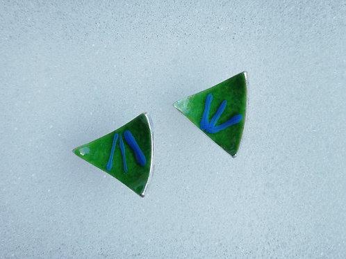 Enameled sterling silver triangle stud earrings