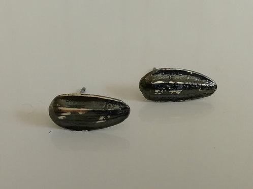 Blackened sterling silver sunflower seed stud earrings