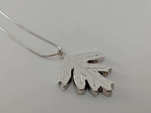 Solid sterling silver leaf pendant with a chain