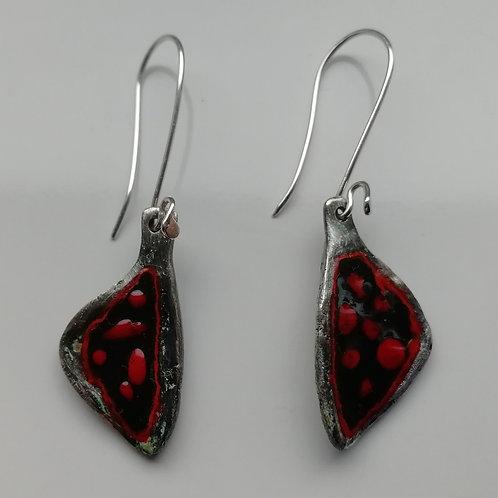 Rustic enameled sterling silver pasta earrings