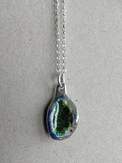 Rustic enameled sterling silver pasta pendant with a chain