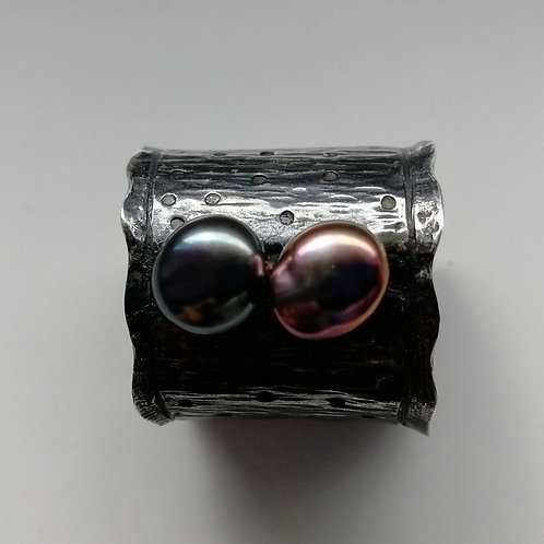 Blackened sterling silver ring with two coloured freshwater pearls