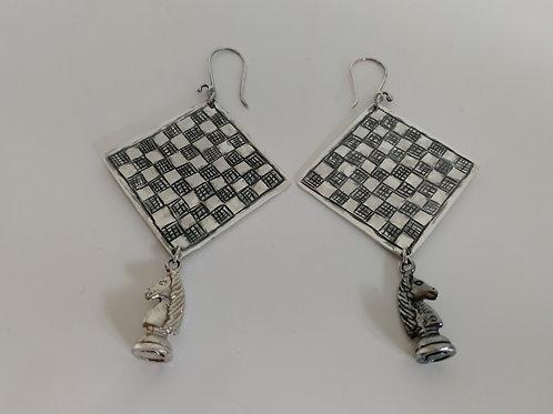 Heavy sterling silver  chessboard earrings