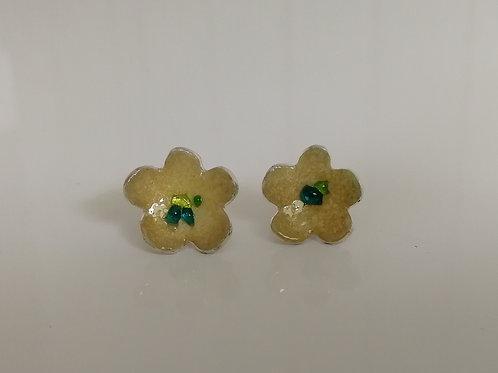 Enameled sterling silver flower stud earrings