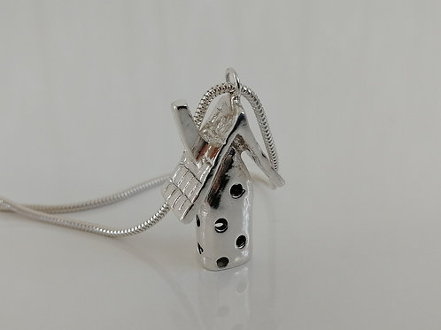 Solid sterling silver house pendant with a chain