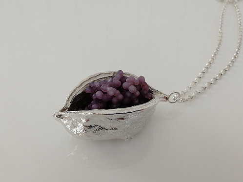 Very large and heavy sterling silver and grape chalcedony cone necklace