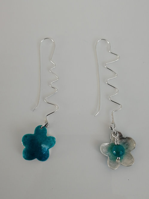 Double sided enamelled sterling silver flower earrings with a bead