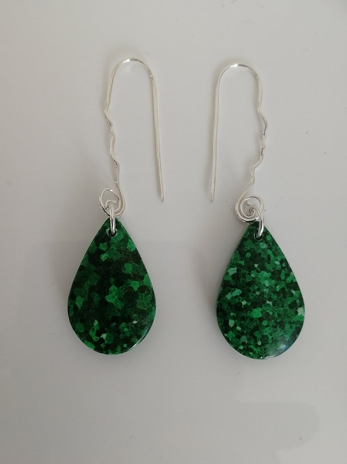 Earrings with green composite stone and sterling silver curly hooks