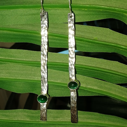 Lond hammered sterling silver earring with a green stone