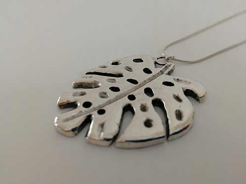Solid sterling silver philodendron leaf pendant