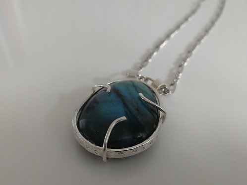 Sterling silver necklace with a giant labradorite