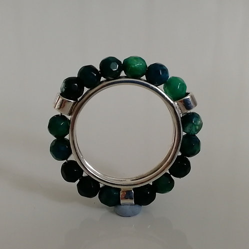 Sterling silver 925 ring with semi precious beads
