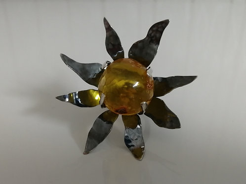 Giant sterling silver sunflower ring with an amber sphere