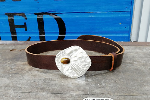 The Jungle Eye - solid sterling silver belt buckle with a tiger eye and a belt