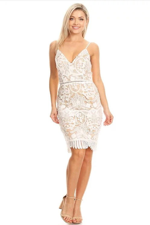 Crochet lace sleeveless midi dress in a bodycon fit with tie back