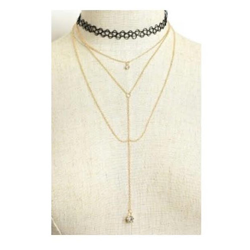 TRIPLE CHAIN DROP STONE NECKLACE CHOKERS