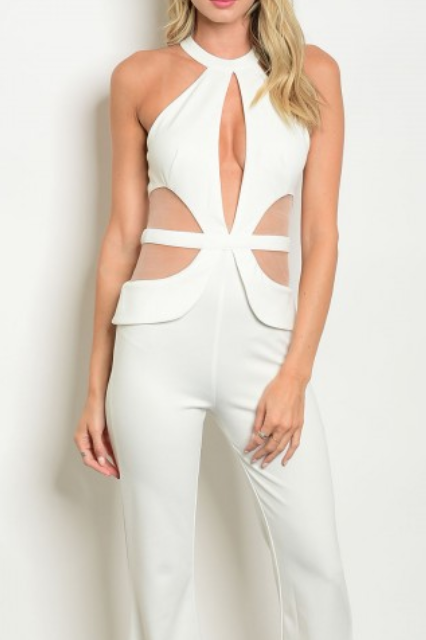 Ivory Nude JumpSuit Polyester Spandex