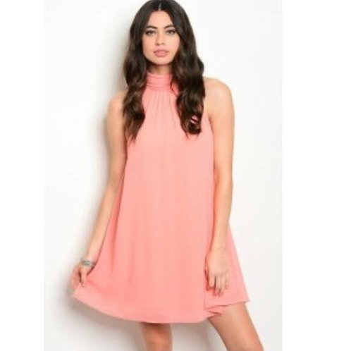 Peach mock neck sleeveless lightweight shift dress