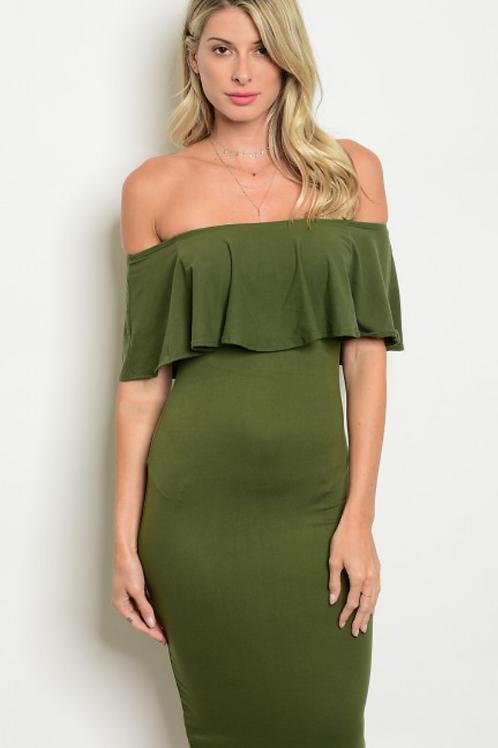 Olive Dress Spandex Polyester