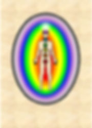 A person in meditation showing the energy work of their chakras and aura.  Energy Body Meditation Group is held monthly by Steve and Amy Hounsome at Tarot Therapy, Poole, Dorset UK