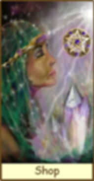 A Psychic Healer is bathed in Psychic Energy holding her Crystal. The Gamble Hounsome Tarot Deck