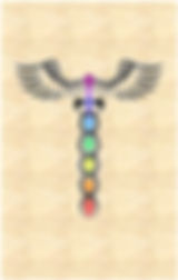 The Caduceus Healing symbol shown in the chakra colours.  This represents the Kundalini Meditation groups with Steve and Amy Hounsome, held at Tarot Therapy Ltd, Poole, Dorset UK.