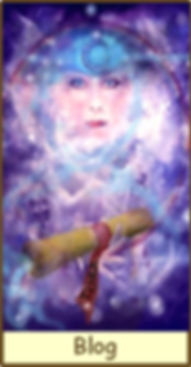The High Priestess from the Gamble Hounsme Tarot.  She appears in magical energy with all her secret knowledge she is ready to share in blogs from Tarot Therapy Ltd