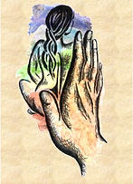 A lady is enjoying the energy of healing hands, representing Steve and Amy Hounsome's Universal Soul Healing Course available for anyone wishing to learn Reiki and Universal soul healing at Tarot Therapy in Poole, Dorset.