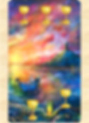 The 5 of cups Tarot Card from the Gamble Hounsome Tarot Deck.  A man in a boat is travelling on still waters to shore.  The Path of your soul is a workshop run by Steve and Amy Hounsome from Tarot Therapy Ltd, to explore your life's purpose through Tarot.  Held in Poole, Dorset, UK.