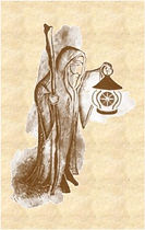 Hermit carrying a light. Introduction to Tarot Therapy Distance learning course by Steve Hounsome. Available worldwide to anyone wishing to learn Tarot!