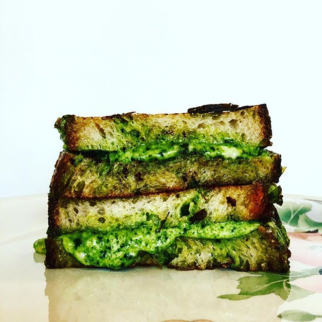 This weeks sourdough special. Green pimento, and green garlic grilled cheese sandwich. Find us at El