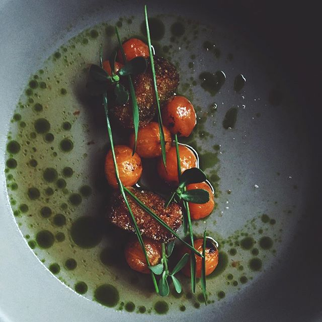 Sungold tomato, sunchoke and salt cod tots, ocean broth
