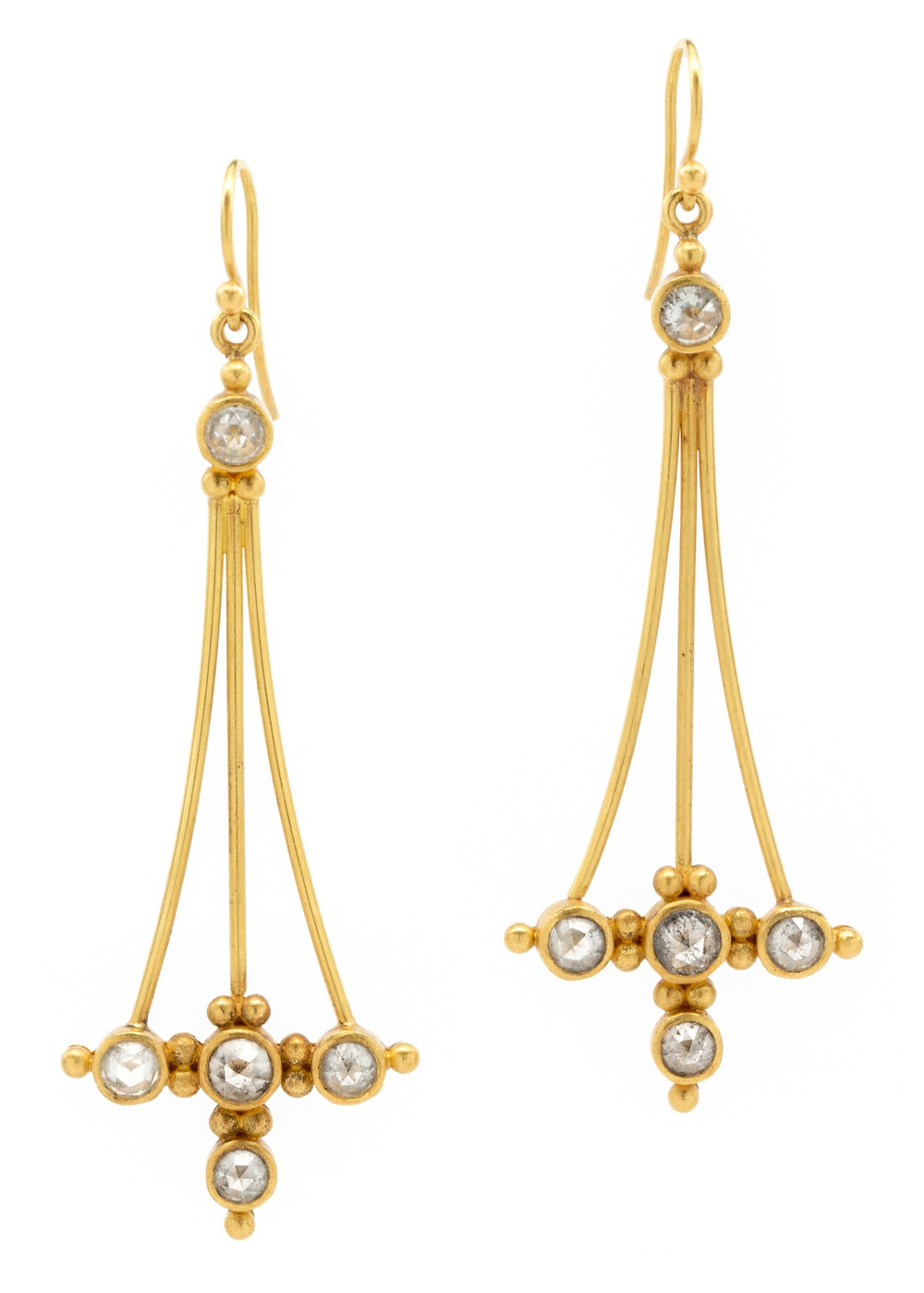 Linda Hoj Eryie Gate rose cut diamond earrings in forged 22k yellow gold