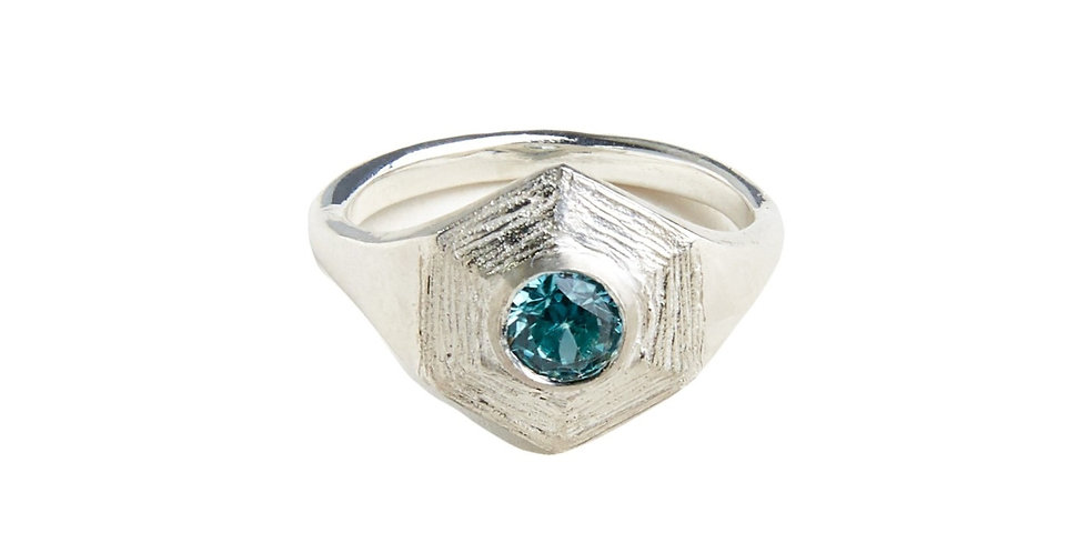 Silver Sphaera Gemstone Hex Ring