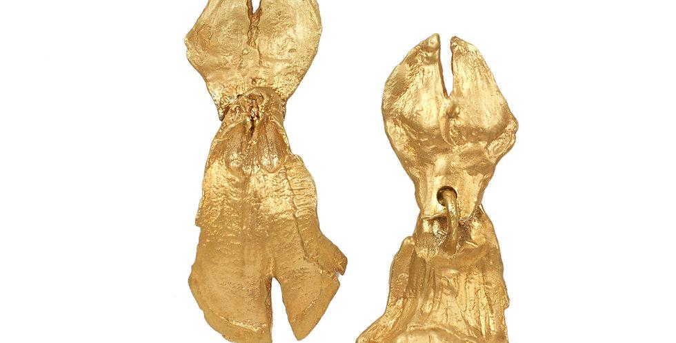 Gold Pine Cone Dangle Earring