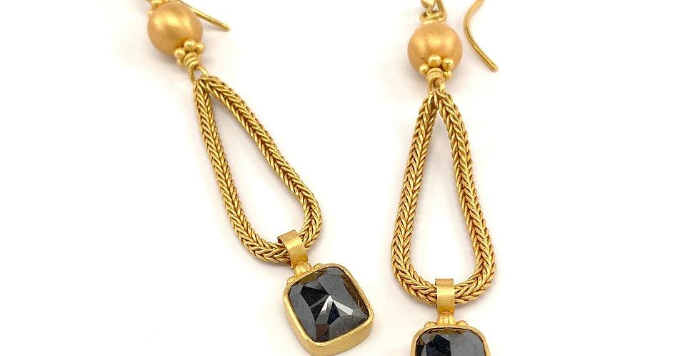 Charmed Serpents Grey Rose Cut Diamond Earrings