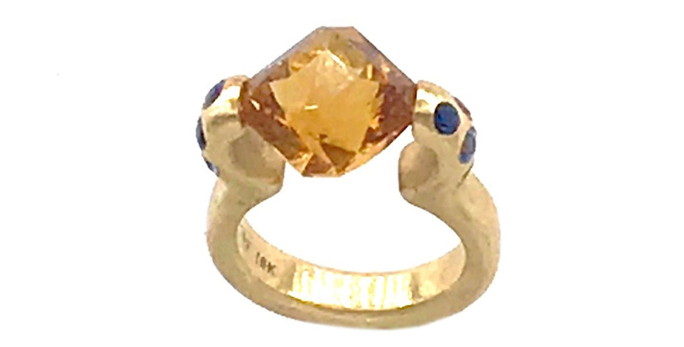 Citrine and Sapphire Tension Ring