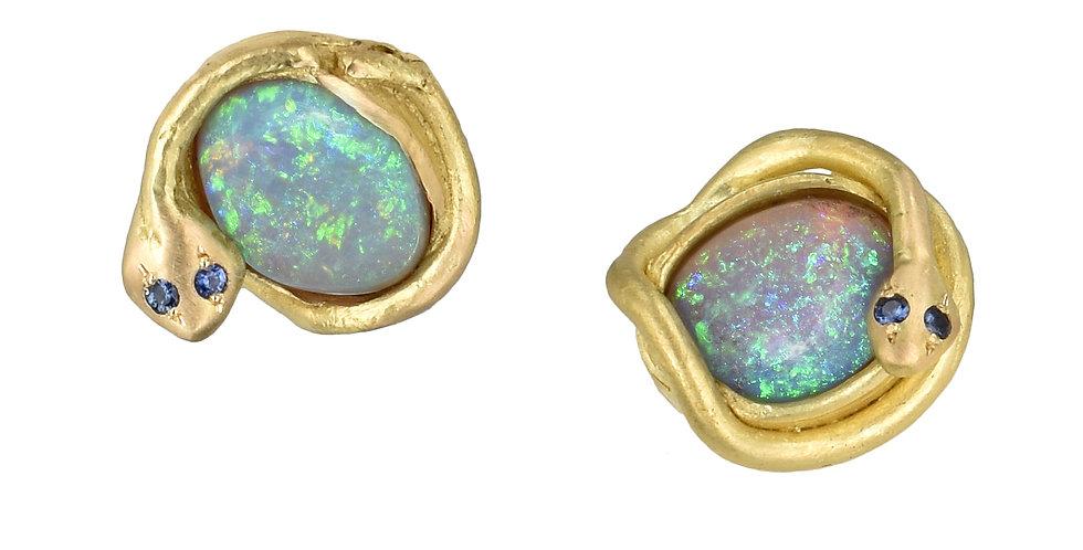 Australian Opal Snake Stud Earrings